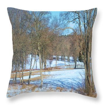 Trees And Pastures Throw Pillow by Constantine Gregory