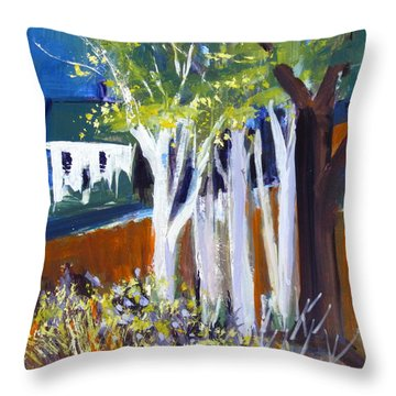 Trees And White Farm House Throw Pillow by Betty Pieper