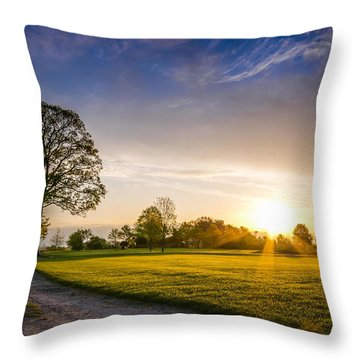 Trees At Dawn On Golf Course Throw Pillow