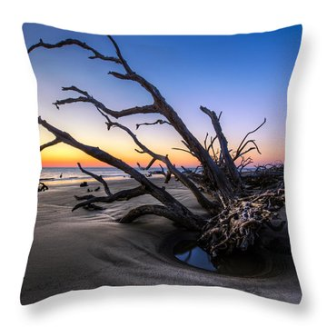 Trees At Driftwood Beach Throw Pillow by Debra and Dave Vanderlaan