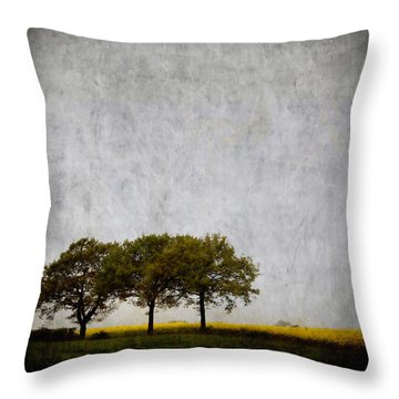 Trees At Sunrise Throw Pillow by Carol Leigh