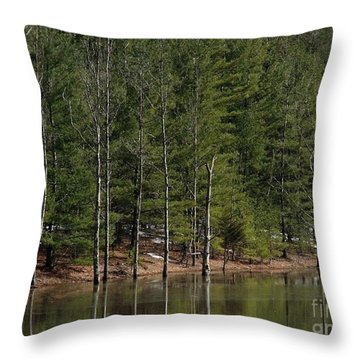 Trees At The Reservoir Throw Pillow