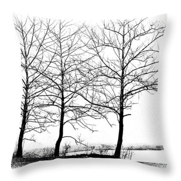 Trees At Water's Edge Throw Pillow