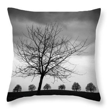 Trees Black And White Throw Pillow