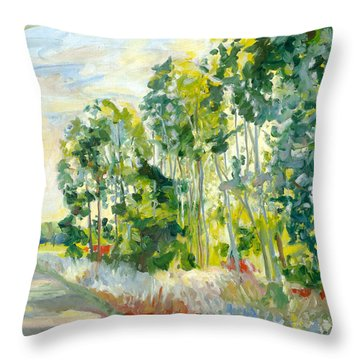 Trees By A Road Throw Pillow