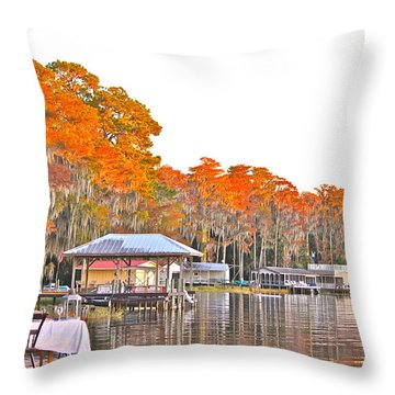 Throw Pillow featuring the photograph Trees By The Lake by Lorna Maza