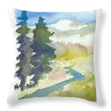 Throw Pillow featuring the painting Trees by C Sitton