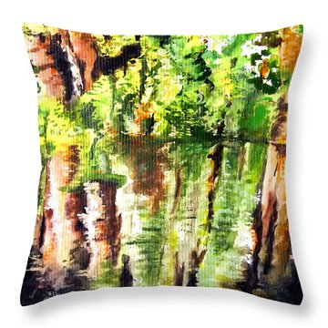 Trees Throw Pillow by Daniel Janda