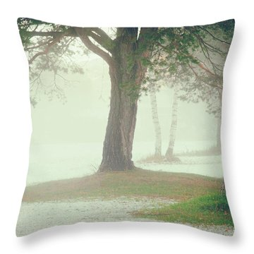 Throw Pillow featuring the photograph Trees In Fog by Silvia Ganora