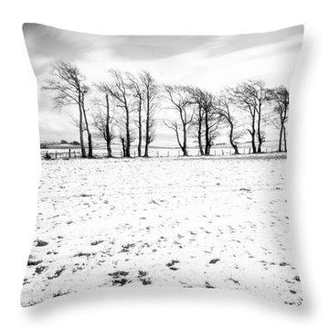 Trees In Snow Scotland Iv Throw Pillow by John Farnan