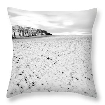 Trees In Snow Scotland Throw Pillow by John Farnan