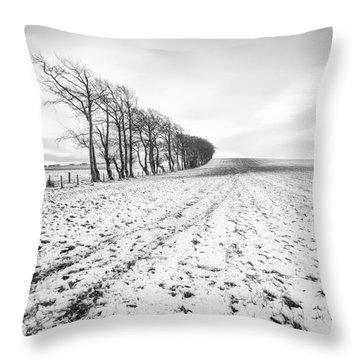 Trees In Snow Scotland V Throw Pillow by John Farnan