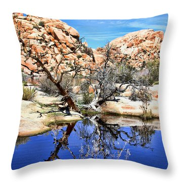 Trees In The Barker Dam Throw Pillow