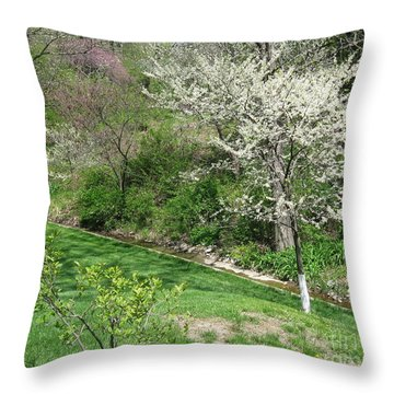 Trees Of Early Spring Throw Pillow