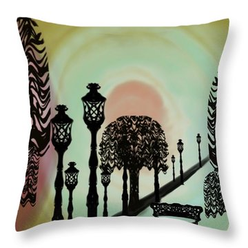 Trees Of Lights Throw Pillow by Christine Fournier