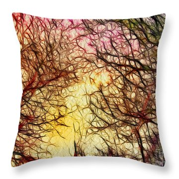 Trees Of The Four Seasons Throw Pillow by Kaye Menner