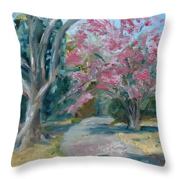 Trees Of Windermere Throw Pillow by Susan E Jones