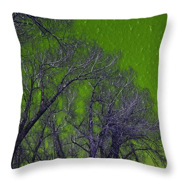 Trees On Green Sky Throw Pillow