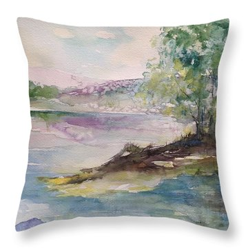 Trees On Water's Edge Throw Pillow