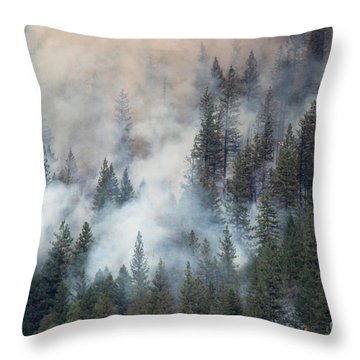 Beaver Fire Trees Swimming In Smoke Throw Pillow