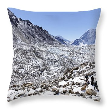 Trekkers En Route To Everest Base Camp In The Everest Region Of Nepal Throw Pillow by Robert Preston
