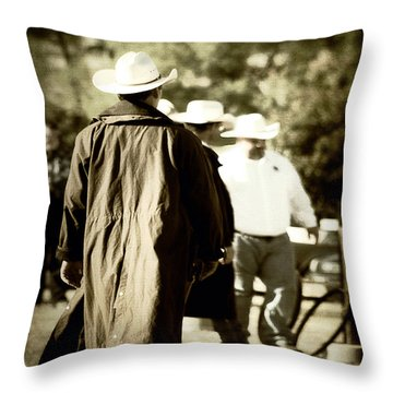 Trenchcoat Cowboy Throw Pillow by Trish Mistric