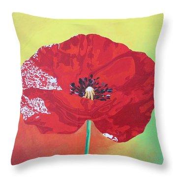 Trendy Poppy  Throw Pillow by Tracey Harrington-Simpson