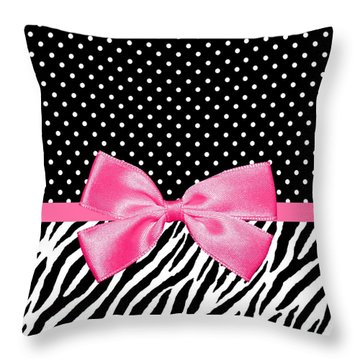 Trendy Zebra Print Pink Ribbon Throw Pillow