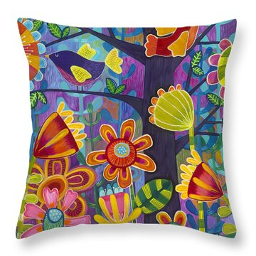 Throw Pillow featuring the painting Tres Amigos by Carla Bank