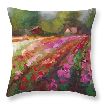 Trespassing Dahlia Field Landscape Throw Pillow