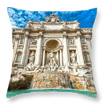 Trevi Fountain - Rome Throw Pillow by Luciano Mortula