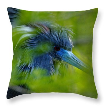 Throw Pillow featuring the photograph Tri-colored Heron Concealed    by John F Tsumas