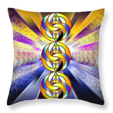 Throw Pillow featuring the drawing Tri-crescent Yin Yang by Derek Gedney