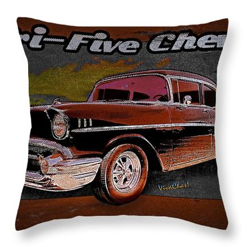 Tri-five Chevy Wall Rider Throw Pillow