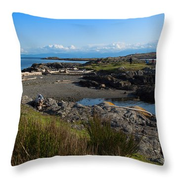 Trial Island And The Strait Of Juan De Fuca II Throw Pillow by Louise Heusinkveld