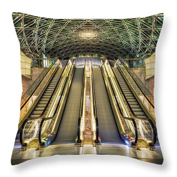 Triangeln Station Escalators Throw Pillow