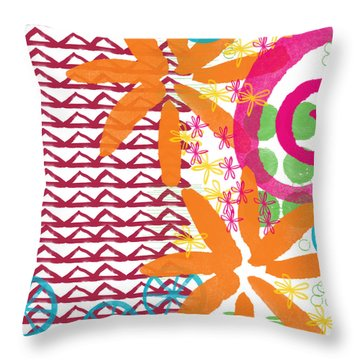 Triangles And Flowers- Colorful Painting Throw Pillow