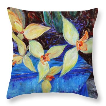 Throw Pillow featuring the painting Triangular Blossom by Xueling Zou