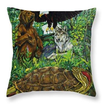 Tribal Gathering Throw Pillow by Derrick Higgins
