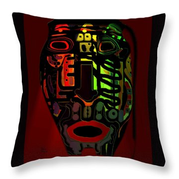 Tribal Mask Throw Pillow by Natalie Holland