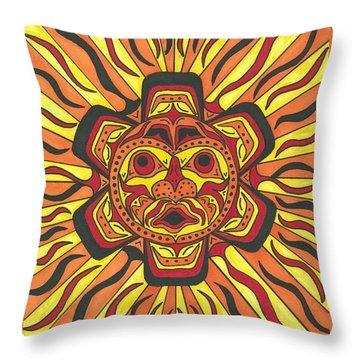 Tribal Sunface Mask Throw Pillow