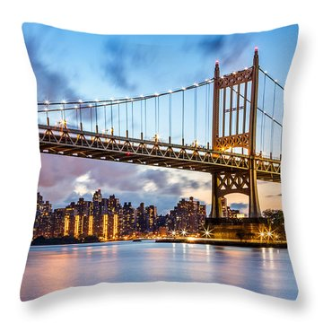 Triboro Bridge At Dusk Throw Pillow