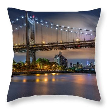 Throw Pillow featuring the photograph Triboro Bridge by Mihai Andritoiu