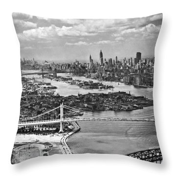 Triborough Bridge Is Completed Throw Pillow by Underwood Archives