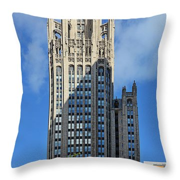 Tribune Tower Chicago - History Is Part Of The Building Throw Pillow by Christine Till