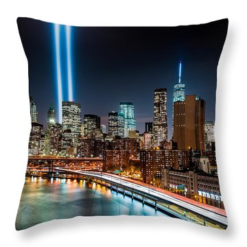 Tribute In Light Memorial Throw Pillow by Mihai Andritoiu