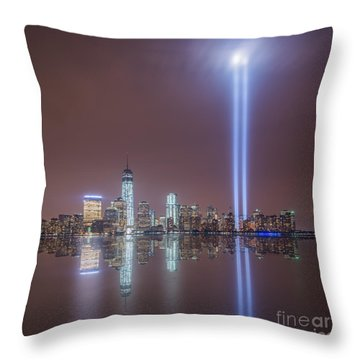 Throw Pillow featuring the photograph Tribute In Light by Michael Ver Sprill