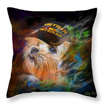 Throw Pillow featuring the digital art Tribute To Canine Veterans by Kathy Tarochione