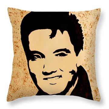 Tribute To Elvis Presley Throw Pillow by Georgeta  Blanaru