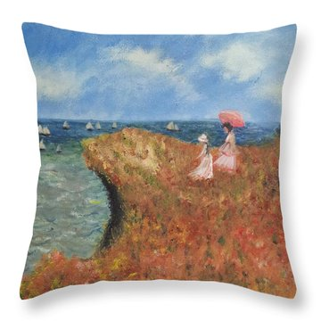 Throw Pillow featuring the painting Tribute To Monet by Kristen R Kennedy